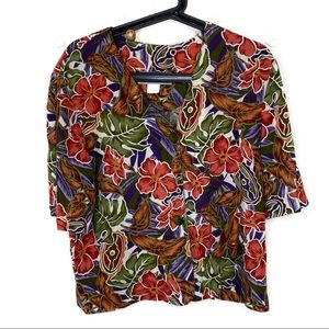 Vintage Hawaiian print cropped button down top